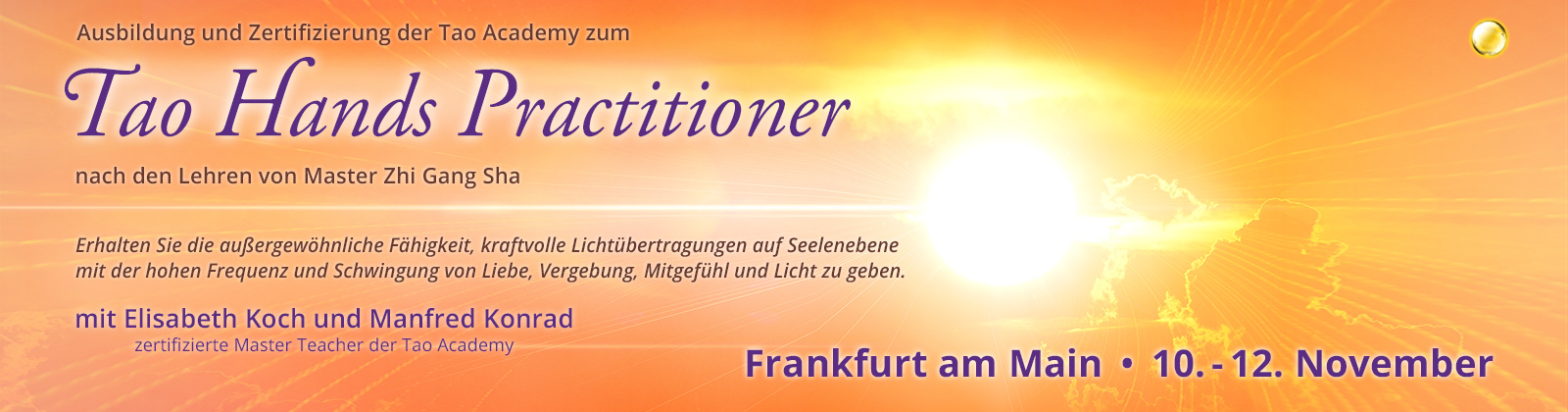 Tao Hands Practioner Ausbildung Level 2: Ausbildungs- und Zertifizierungs-Workshop | Frankfurt am Main